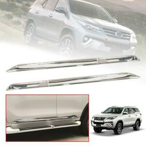 Side Doors Body Cladding Guard Chrome Trim Fit Toyota Fortuner Sw4 2015 18