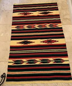 Vintage Large Wool Rug Or Tapestry Beautiful Colors And Pattern Green Red Black