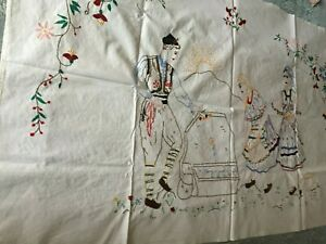Beautiful Vintage Hand Embroidered Tapestry
