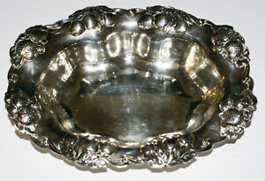 Antique Sterling Silver Gorham Strawberries Cherries Oval Serving Bowl 10 5 8
