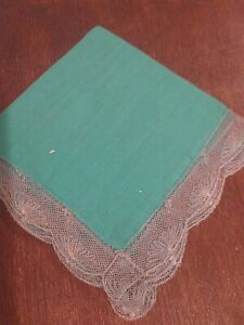 Antique Ladies Green Hanky Trimmed With Lace