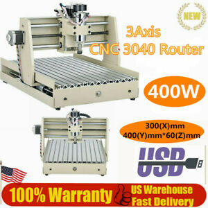 New 3axis Engraver Cnc 3040 Router Cutter 400w 3d Cut Diy Carving Machine W Usb