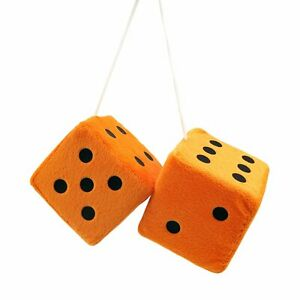 3 Orange Fuzzy Dice With Black Dots Pair Vpadiceorbk Retro Parts Usa Rat