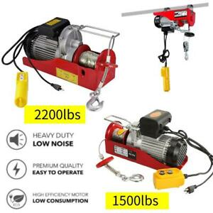 1500 2200 Lbs Electric Wire Hoist Winch Lifting Hanging Engine Crane Lift