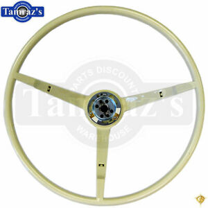 1965 Ford Mustang 3 Spoke Steering Wheel White Golden Star