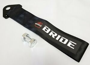 1x Black Jdm Bride Racing Drift Rally Car Tow Towing Strap Belt Hook Universal