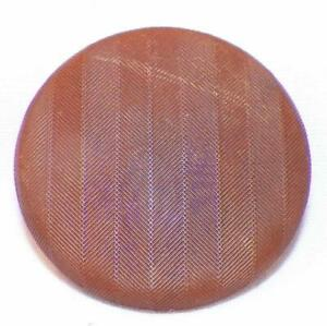 Antique Goodyear Hard Rubber Button Brown Diagonal Stripes Fabric 1 1 8in 3