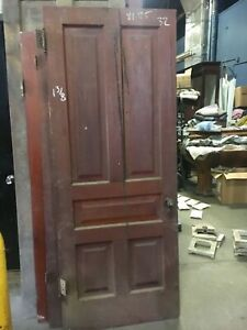 C1880 5 Panel Pine Door Ohio Farmhouse Raised Panel Original Hardware 81 25 X 32