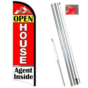 Open House Agent Inside Premium Windless Polyknit Feather Flag With Bundle Optio