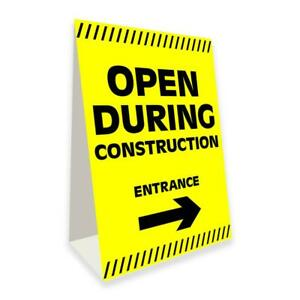 Open During Construction Economy A frame Sign