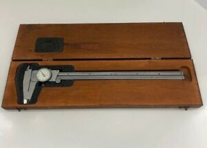 American Made Starrett 12 Inch Dial Caliper Model 120 With Wooden Case