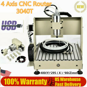 4 Axis Cnc Router 3040 G Code Engraving Milling Machine With 3 year Warranty New