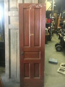 C1880 5 Panel Pine Door Ohio Farmhouse Raised Panel Original Hardware 77 X 24 B