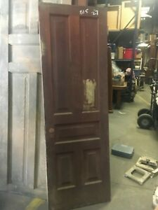 C1880 5 Panel Pine Door Ohio Farmhouse Raised Panel Original Hardware 81 5 X 27