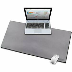 Grey Mouse Pads Pu Leather Desk Extended Gaming Keyboard Mat Dual Use Waterproof