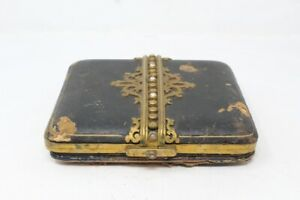 Antique Leather Covered Cut Design Brass Floral Work Jewelry Box Stone Auto Lock