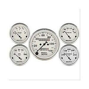 Autometer Gauge Kit Old Tyme White Speedo Water Temp Fuel Level Volt Oil 1601