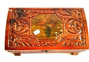 Vintage 1940 S Hand Carved Cedar Wooden Chest Jewelry Box With Rose Design