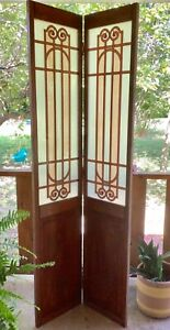 Pair Vtg Wood Wooden Large Folding Stained Frosted Glass Window Doors