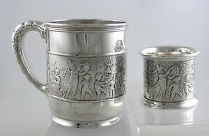 Sterling Tiffany Makers Ca 1891 Marching Band Baby Cup Napkin Ring Set
