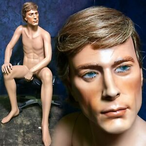 Hindsgaul Mannequin Male Man W Hard Cap Wig Sitting Full Natural Realistic Vtg