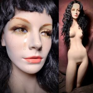 Wolf vine Mannequin Display Sad Crying 3 4 Female Realistic Vtg Creepy Oddity
