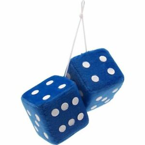 3 Blue Fuzzy Dice With White Dots Pair Rat Truck