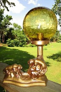 Vintage Golden Tigers Spelter Lamp W Glass Crackle Shade Says No 38 On Back