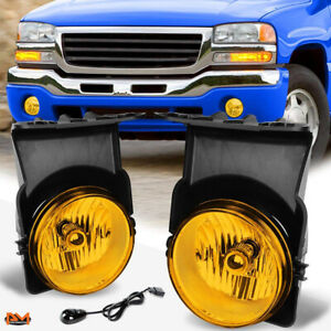 For 03 06 Gmc Sierra Pickup Amber Front Bumper Driving Fog Light lamp W switch