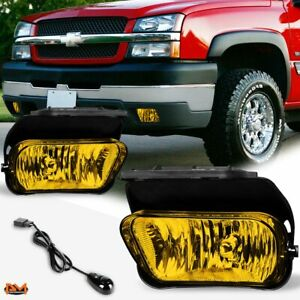 For 02 06 Chevy Silverado avalanche Amber Lens Bumper Fog Light lamp switch Pair