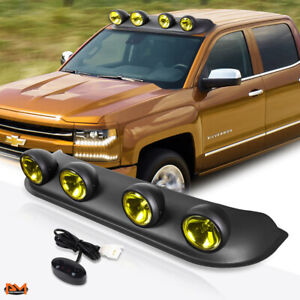 Universal 4x4 Amber Lens Off road Roof Mounted Fog Light lamp W switch harness