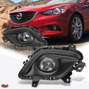 For 14 16 Mazda 6 Clear Lens Front Driving Fog Light lamp W switch black Bezel