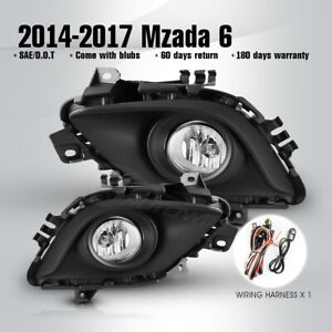 For 14 17 Mazda 6 Driving Fog Lights Bumper Front Lamps Clear Pair Wiring Switch