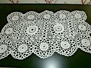 Vintage White Cotton Hand Crochet Irish Lace Table Runner 18 X 11