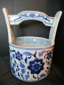 Antique Chinese Tianqing Blue Flowers Water Bucket Very Old Heavy 12 Tall