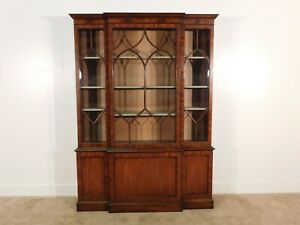 Kittinger Mahogany Crown Mullioned Glass 3 Door Breakfront China Display Cabinet