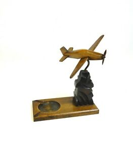 French Art Deco Streamline Airplane Wooden Aviation Sculpture Antique