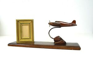 French Art Deco Streamline Airplane Wooden Photo Frame Sculpture Antique