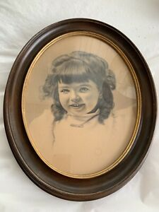 Large Antique Victorian Oval Walnut Deep Well Picture Frame With Glass Excellent