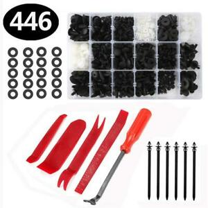 446pcs Car Retainer Clips Auto Fasteners Push Trim Clips Pin Rivet Bumper Kit