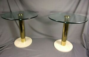 Vtg Pair Pace Collection Round End Tables Brass Terrazzo No Chips Mcm Italian