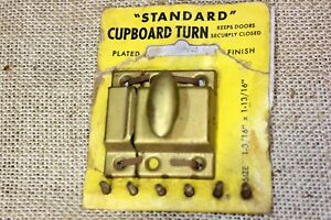 1 3 4 Cabinet Cupboard Turn Latch Catch Old Brass On Tin Usa Made Nos Vintage