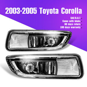 For 2003 2005 Toyota Corolla Black Housing Clear Lens Bumper Fog Light Pair Lamp