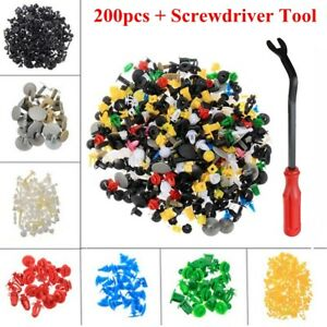 200pcs Auto Car Body Plastic Push Pin Rivet Fasteners Trim Panel Moulding Clip