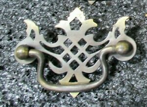 Chinese Chippendale Style Vintage Brass Finish Drawer Door Pulls Set Of 5