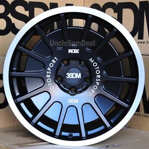 Staggered 18x8 5 18x9 5 5x112 3sdm 0 66 Matte Black 14 Spokes Disc Wheels Set