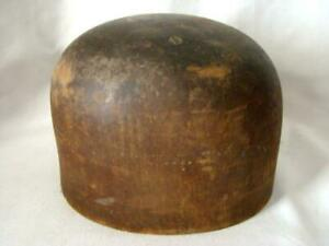 Antique Primitive Carved Wood Industrial Factory Tall Dome Top Block Hat Mold