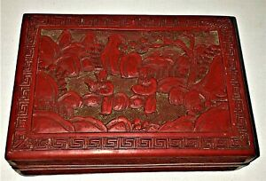 Fine Antique Chinese Genuine Red Cinnabar Lacquer Box Figures Signed