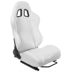 Summit Racing Sport Seat Dial Recliner White Vinyl Cover Passenger Side Each