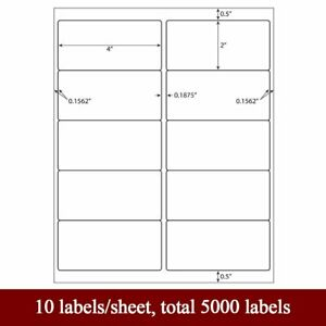 5000 Premium Self Adhesive Shipping Labels Mailing Address 4x2 500 Sheets Sticky